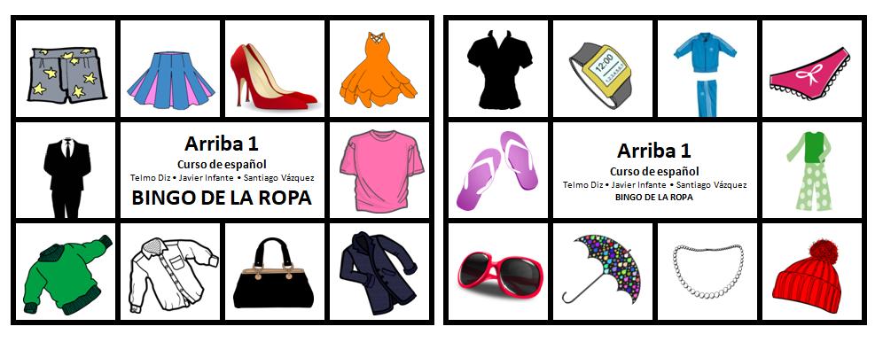 Bingo ropa - Libro de Español Arriba A1