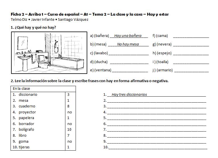 Ficha 2 - Libro de Español Arriba A1