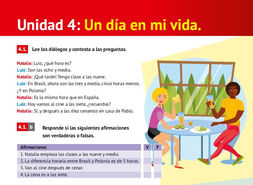 Intro Unidad 4 Libro de Español Arriba A1