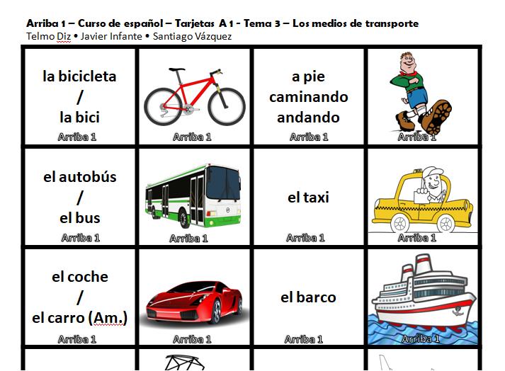 Tarjetas transporte - Libro de Español Arriba A1